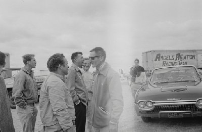 Bridgehampton Double 500, 1963. Center: Carroll Shelby, Briggs Cunningham, and Ken Miles (Photo credit: Karl Ludvigsen Photograph Collection, Revs Institute)