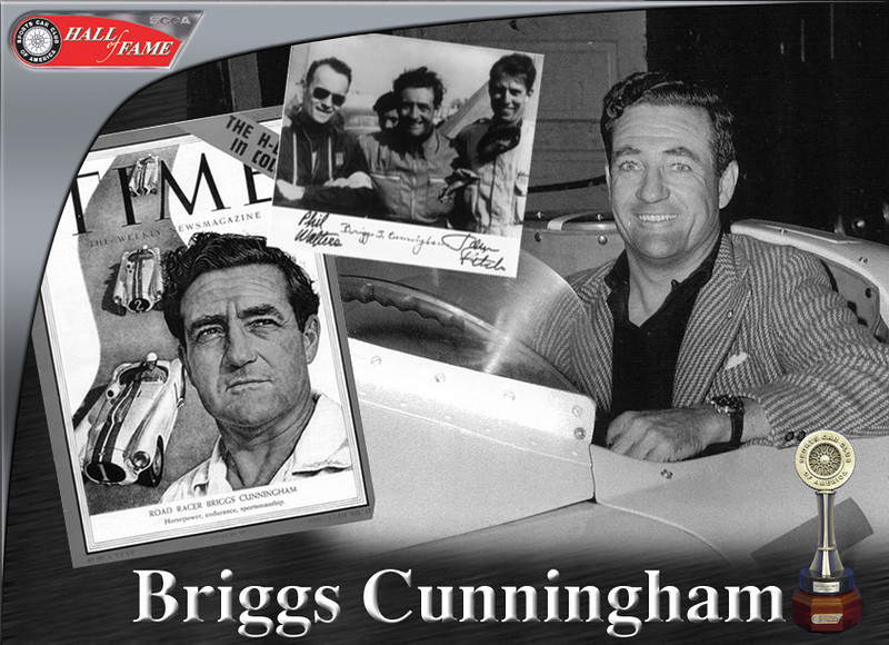 Briggs Cunningham was a contemporary of current SCCA Hall of Fame Members John Fitch, Cameron Argetsinger, and Bill Milliken. A capable racer of both cars and boats, Cunningham competed in SCCA's very first road race at Watkins Glen in 1948. He was one of the most colorful and successful drivers of his era, with a career that spanned 25 years. But, he was best known as a car owner and the first person to build a team of American cars and drivers capable of challenging the Europeans on the international circuit. Photo credit: Sports Car Club of America