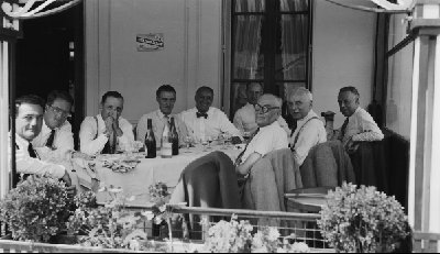 "Gathering of racing personalitites, 1950. Louis Wagner, Emile Claveau, Briggs Cunningham, Amedeo ""Amédée"" Gordini (Photo credit: Smith Hempstone Photograph Collection, Revs Institute)"