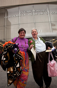 Barbara Bustard-Burnside (L) and her partner Carol Bustard-Burnside (R) were 14th to file an application
