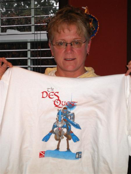 Jackie proudly showing off the back of her new DES T-Shirt
