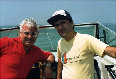Abe Assily, left, and friend Dr. Ramiz Masri go boating on Lake Erie.