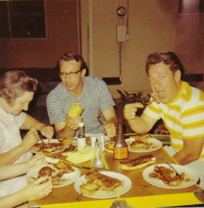 Becky Campbell and her sons, Fred, center, and Amos, feast on steak at Fred's home in Fresno, Calif., in 1969.