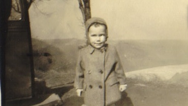 """Little Amos """"Jupie"""" Campbell in the hills of Western Pennsylvania around 1930."""