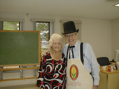 Flo and Amos Campbell at taffy pulling event at Swanton Public Library in Swanton, Ohio.