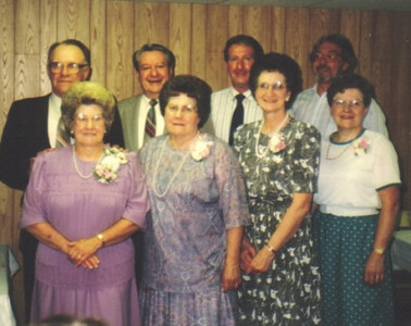 The Campbell siblings: Front row from left, Margaret,Jane, Joan and Roberta; Back row from left, Frank, Amos, Wayne and Fred.