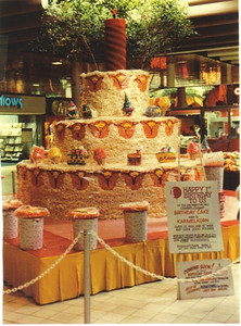 Amos Campbell built this birthday cake out of popcorn balls for Parmatown Mall's first anniversary.
