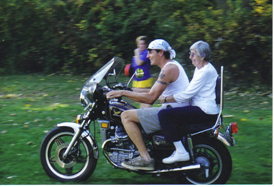 Ann Brand enjoyed riding on a motorbike with her grandson Brian Paul in recent years.