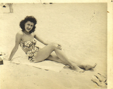 Ann Ivka, on the beach in 1945.