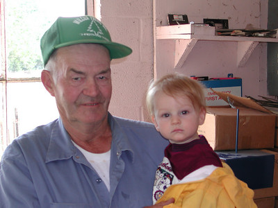 Avery Wilcox Sr. and his second great-grandchild, Andy Ziogas of Medina, pictured on Sept. 15, 2001. (Photo courtesy of the family.)