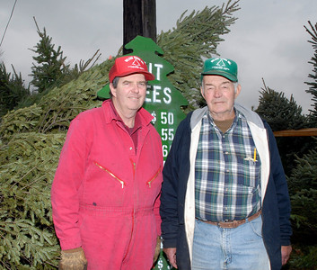 (Chronicle File Photo by Carl Sullenberger) Avery Wilcox and his son Avery Wilcox II stand amongst the cut and live trees on their tree farm in LaGrange Township in 2007.