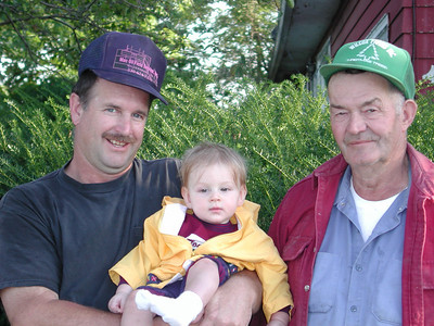 Avery Wilcox Sr. (right), his youngest son, Greg (left), and his great-grandson, Andy Ziogas, on Sept. 15, 2001. (Photo courtesy of the family.)