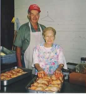 Avery Wilcox Sr. and his second wife, Betty, pictured in 2003, volunteered in the kitchen at the Lorain County Fair cafeteria. (Photo courtesy of the family.)