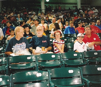 Barb Baldwin and her husband, Dick, wearing blue T-shirts, attended at least 20 Cleveland Indians games a year. Next to them i this photo are their granddaughter Brooke, grandson Brandon, who was celebrating his birthday, and son Rob.