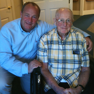 Bernie O'Donnell, right, pictured in recent years with his son, Dave, was the father of two daughters -  Mary Jo Reagan and Martha Yanover – and five sons – Bernard, Mark, Mike, Dave and John.