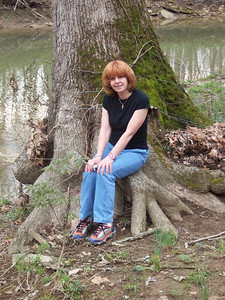 Carol Fankhauser takes a break while traveling through Kentucky.
