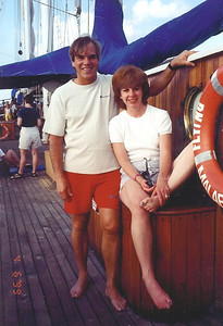 Larry and Carol Fankhauser, pictured on a windjammer in 1999, enjoyed snorkeling, scuba diving and downhill skiing together..