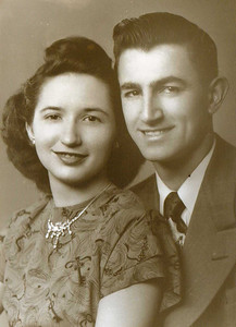 Wedding announcement photo of Rose Marie Toolis and Charles E. Kurtz from the late 1940s.