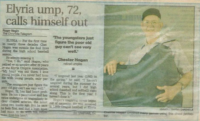 The Chronicle-Telegram's Roger Negin wrote about Chet Hogan's retirement from the Elyria Umpires Association in 1993. (Provided by the family.)