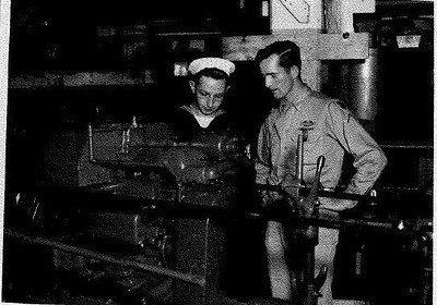 Chet Hogan, right, is pictured in 1945 with another World War II veteran, who worked at General Industries in Elyria. (Provided by the family.)