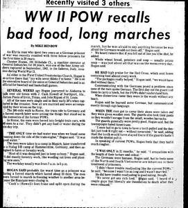 Details of Chet Hogan's time as a prisoner of war were featured in a Chronicle-Telegram article in the early 1970s. (Provided by the family.)