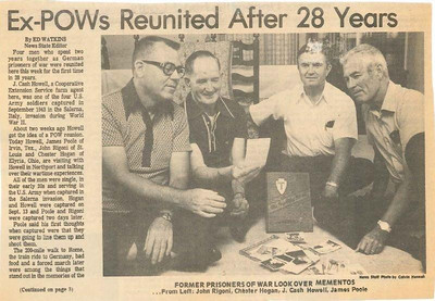 Chet Hogan, second from the left, and three other former prisoners of war, who were held at Stalag II-B in Hammerstein, Germany, during World War II, are pictured at a reunion in Northport, Ala., in the early 1970s. (Provided by the family.)