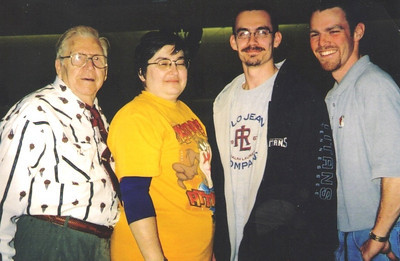 Clarence Talcott, left, and his last bowling team. Do you recognize his teammates? (Photo courtesy of the family.)
