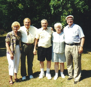 The last of the Talcott siblings at a family reunion in 2002: From left, Helen, Clarence, Bill, Norma and Cliff. (Photo courtesy of the family.)