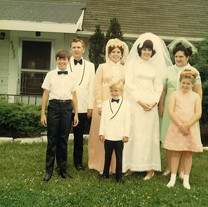 Clarence Talcott's family at daughter Maureen's wedding in 1970: From left: His son Craig, Clarence himself, his daughter Joan, son Lance, daughter Maureen (the bride), his wife, Kathleen, and daughter Suzanne. (Not pictured: daughter Kathleen.) (Photo courtesy of the family.)