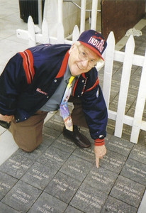 Clarence Talcott shows off the brick with his name on it at what was then Jacobs Field in Cleveland. (Photo courtesy of the family.)