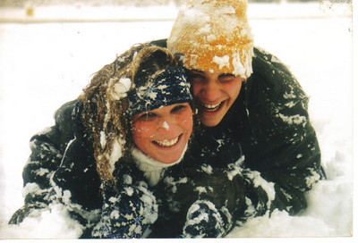 Casie and Craig Behrend play in the snow in the winter of 2003.