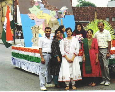 D.C. Patel and his wife, Minal, the couple at the far right, and friends put together the India float for the Lorain International Festival in 1993.