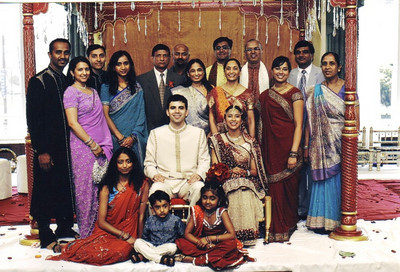 D.C. Patel, fourth from the left standing, and his extended family in India.
