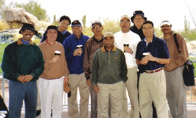 D.C. Patel, fifth from the left, and a group of physicians from Lorain and Cuyahoga counties on a golf outing to Arizona in 2004.