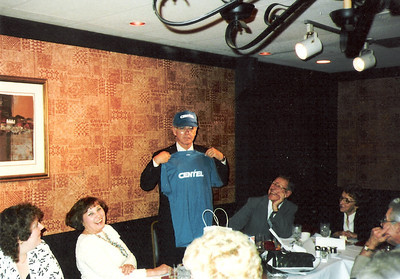 Dale Meredith, showing off his Centel t-shirt and ballcap at his retirement party, worked for the Lorain Telephone Company for around 40 years before retiring from Centel as manager of the outside plant engineering department in 1986. (Photo courtesy of the family.)