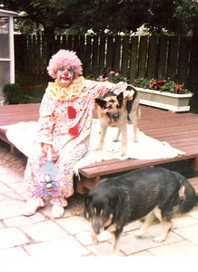 Dale Meredith clowns it up with family dogs Nikki and Shalimar in 1980. (Photo courtesy of the family.)