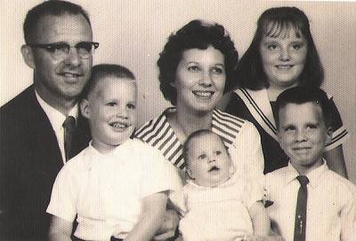 The Meredith family, 1963: Dale, holding Scott, Lois, holding Nancy, and Lynette, standing behind Mark. (Photo courtesy of the family.)
