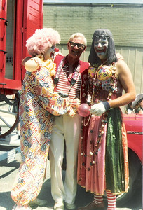 Dale Meredith (the clown) with fellow Lorain Lions Club members at Lorain International Festival Parade in 1980. (Photo courtesy of the family.)
