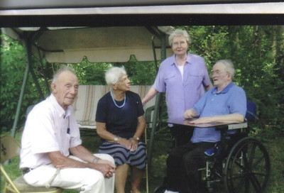 Tom Younglas, left, was best man at Damon and Edna Hill's wedding on July 15, 1950. The two men were friends since theymet as students at LaGrange High that lasted . Next to Tom is his wife, Jane. Edna and Damon are on the right.  (Photo courtesy of the family.)