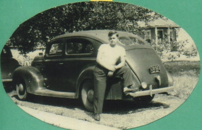 Damon Hill posed with a different car after returning from military service in 1948. (Photo courtesy of the family.)