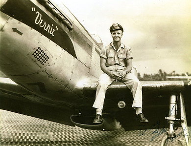1st Lt. Dan Brattoli, a tactical reconnaissance pilot, sits on the wing of a P-51 Mustang fighter aircraft, which bears the nickname of his wife, Vernie. He received the Distinguished Flying Cross and Air Medal with two Oak Leaf Clusters for his service during World War II. (Photo courtesy of the family.)