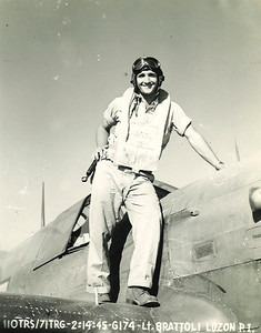 Dan Brattoli stands on the wing of his plane while serving in Luzon in the Philippine Islands in 1945. (Photo courtesy of the family.)