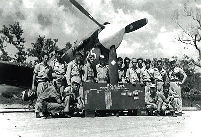 Dan Brattoli, on the right side of the propeller, and fellow airmen who served in the Asiatic-Pacific theater during World War II. (Photo courtesy of the family.)