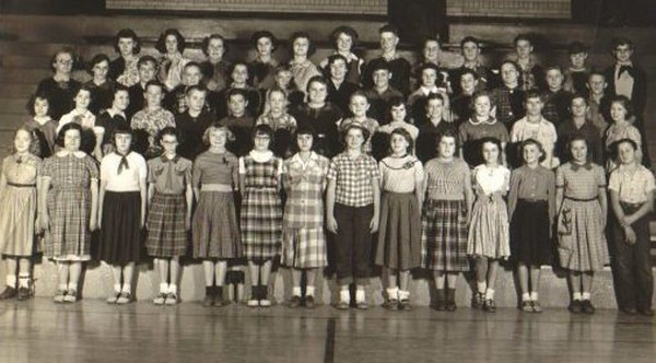 Dixie Cole, front row, far left, wore leg braces as a 6th grade student in the Galion-Iberia area in the 1950s.