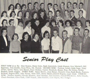 Dixie Cole, front row, second from left, and the Iberia High School Senior Play Cast.