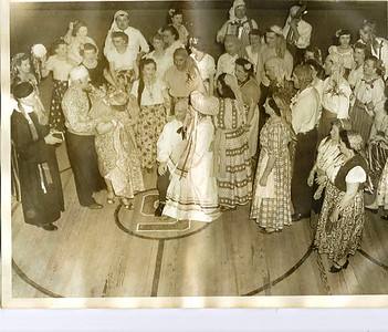 Eleanor Malinowski (upper left holding tambourine) took part in the recreation of a Polish wedding. (Photo courtesy of the family.)