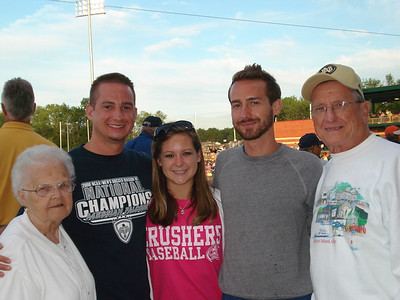 Eleanor and Steve Kaminski attend a Crushers game with their grandchildren. (Photo courtesy of the family.)