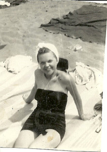 Eleanor Malinowski suns herself at Lakeview Beach in Lorain in the 1940s. (Photo courtesy of the family.)