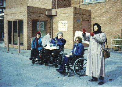 Elsie Danevich, second from the right, and associates from LEAP held demonstrations and marches to heighten awareness of equal access for people with disabilities.