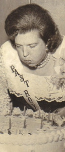 Eva Mae Pugh, shown blowing out candles on a cake at a TOPS (Take Off Pounds Sensibly) celebration in the 1960s, lost more than 100 pounds as a result of the TOPS weight-loss program. Her weight fluctuated over the years.